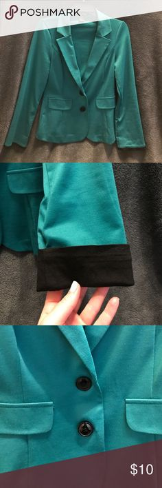 Green Blazer Never worn (tags removed though), perfect condition! Sleeves can be rolled up to show black lining (see picture). Pocket detail and 2 black buttons. Jackets & Coats Blazers