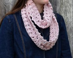 Items similar to Lacy pink cowl, long wool scarf, crocheted cowl in rose pink, cowl for woman on Etsy Crochet Blanket Edging, Crochet Scarf Easy, Crochet Stars, Crochet Baby Socks, Crochet Kids Hats, Hand Crochet, Crochet Dress Outfits, Baby Mermaid Crochet, Handmade Tags