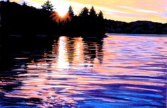 Dusk at Canoe Lake -painted in pastels