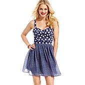 Marilyn Monroe Juniors Dress, Sleeveless Printed Bustier A-Line