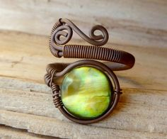 Olive green Mother of pearl Adjustable wire wrapped ring by PillarOfSaltStudio