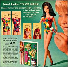 Barbie Color Magic, 1966 Sears Christmas Wishbook I loved Barbie Color Magic. I must have changed her hair color 50 times a day. Barbie Hair, Barbie And Ken, Vintage Advertisements, Vintage Ads, Vintage Stuff, Color Magic, Valley Of The Dolls, Childhood Toys, Childhood Memories