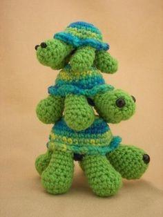 """Turtle Trio Crochet Amigurumi Pattern by CraftyDebDesigns on Etsy, $4.50"" #Amigurumi  #crochet"
