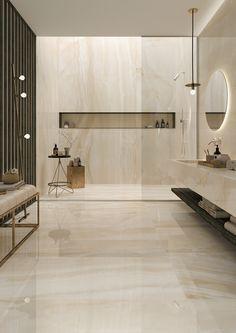 Marble Interior Trends for Luxurious Home Interior Purpose Modern Master Bathroom, Beige Bathroom, Travertine Bathroom, Bathroom Mirrors, Minimalist Bathroom, Bathroom Cabinets, Modern Minimalist, Marble Interior, Home Interior Design