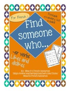 French Find someone who...hobbies and -er verbs