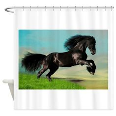 Black Horse Rearing Shower Curtain
