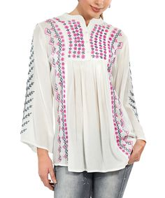 Loving this Luv2Luv White & Pink Embroidered Button-Front Tunic on #zulily! #zulilyfinds