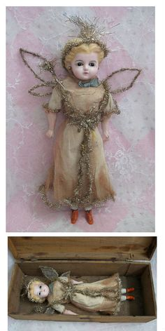 Circa 1880s Christmas Fairy with Tinsel and Lametta Tiara Dolls And Lace.com