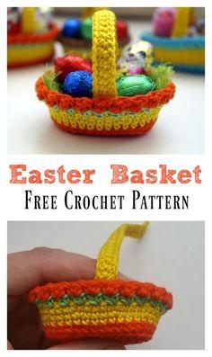 Lots of Crochet Easter Basket Free Patterns #Freepattern #Crochet