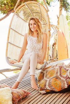 Get into the swing of summer's softer colors with blush-tone skinnies. Pair with a lace overlay top with just the right amount of volume. Shop this LC Lauren Conrad look only at Kohl's.