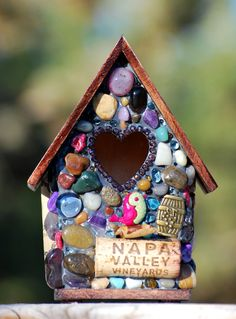 Mosaic Heart Birdhouse for Wine lovers by WinestoneBirdhouses, $49.50