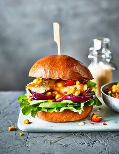 Peri peri sauce gives a spicy kick to this veggie halloumi burger recipe. Grill the different elements on the BBQ for a summer showstopper Peri peri sauce gives a spicy kick to this veggie halloumi burger recipe Burger Recipes, Veggie Recipes, Vegetarian Recipes, Cooking Recipes, Healthy Recipes, Tasty Burger, Savoury Recipes, Snacks Recipes, Easy Snacks