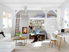 Dco Appartement Petit Espace: Ides Design Et Modernes. Home and Family Small Space Living, Small Spaces, Living Spaces, Living Room, One Room Apartment, Studio Apartment, Style Loft, Appartement Design, Apartment Interior Design