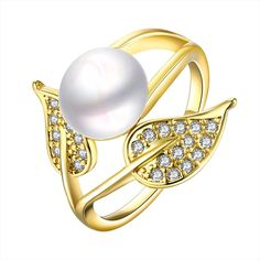 Gold Plated Cultured Pearl Duo-Leaf Ring Women's
