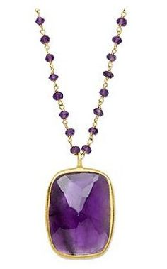 18k Gold Over Sterling Silver Necklace, Amethyst Rectangle Pendant