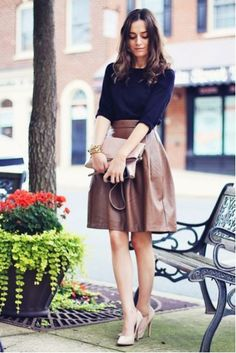 Navy blue, brown skirt, a-line, nude pumps, gold jewelry, outfit, fall fashion 2014