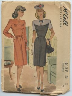 1940s McCall 6159 Misses Day Dress with Keyhole Neckline and Inverted Pleated Skirt Vintage Sewing Pattern Bust 30 by GreyDogVintage on Etsy