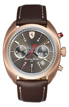 Men's Scuderia Ferrari 'Formula Sportiva' Chronograph Leather Strap Watch