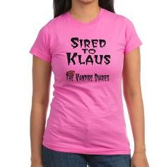 """Sired to Klaus T-Shirt Inspired by the hit vampire show The Originals a spinoff of The Vampire Diaries """"Sired to Klaus"""" with a pair of vampire fangs. Find great Klaus Mikaelson Gifts.  $26.39"""