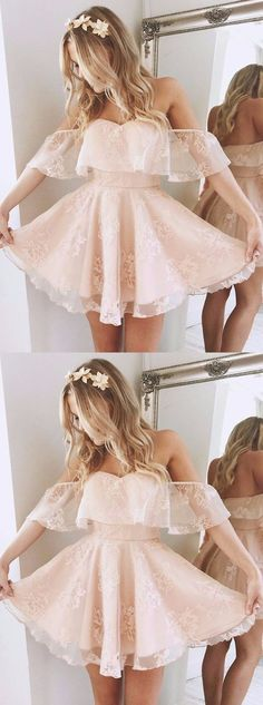 A-Line Off-the-Shoulder Short Pearl Pink Lace Homecoming Dress,Party Dress,Evening Dress