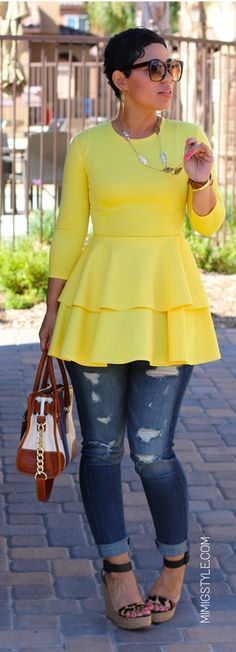 DIY Sunshine Yellow Peplum By Mimi G; OMG-I need this in my life-entire outfit! Casual Chic, Style Casual, Casual Wear, Casual Outfits, Cute Outfits, My Style, Look Fashion, Diy Fashion, Autumn Fashion