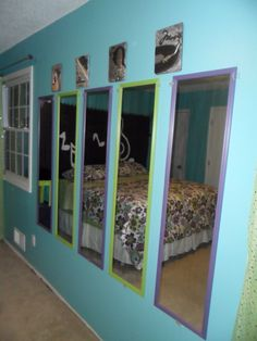 Tween-dream room. Mirror wall.  Perfect for sleepovers... enough mirrors for all the girls! lol