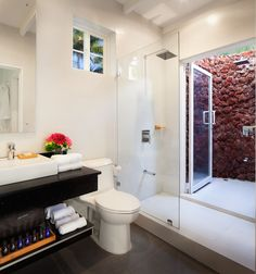 The villa has 2 full bathrooms with full amenities, one on each floor. also the Villa has an exquisite outdoor shower with volcanic rocks to have absolute relaxation in a private, peaceful space.products, iron and hair dryer.