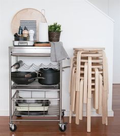 Keep a stack of stools tucked away to the side, so you're ready for guests whenever they descend! | Thanks for the tip @mrmattallison!