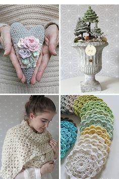 Blümchenkranz - gehäkelt * crocheting a flowerwreath * Fais au crochet une couronne de fleurs Basic Crochet Stitches, Crochet Basics, Thread Crochet, Crochet Patterns, Crochet Wreath, Diy Crochet, Crochet Hooks, Crochet Supplies, Cotton Crochet