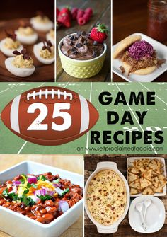 I've rounded up 25 Game Day Recipes featuring bacon (of course), chili, dips, sliders and sweets that will complete any tailgating or Superbowl party. {Self Proclaimed Foodie}