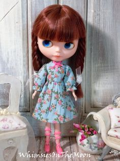 Blythe One Piece Floral Dress with 3/4 Puffed by WhimsiesOnTheMoon