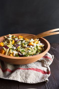 Roasted Brussels Sprouts and Butternut Squash Pasta Salad and a giveaway!