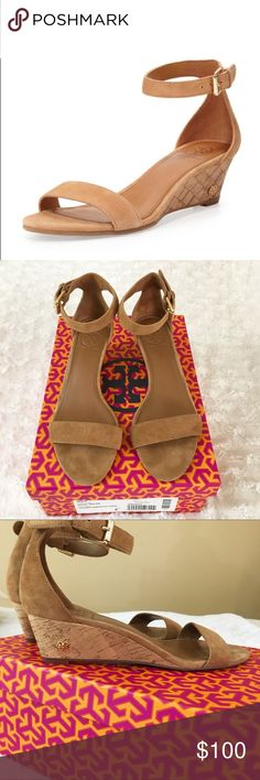 Tory Burch Wedge Sandal Tory Burch Savannah 45mm Wedge Sandal.  Color: Royal Tan in suede. Worn 3x, great condition. 🔹Read before asking; Yes 💯 authentic. Offers in comments will be ignored, use the offer button if interested! No trades🔹Thanks❣️ Tory Burch Shoes Wedges