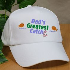 Greatest Catch Personalized #FathersDay Fishing Hats. Dad will be able to fish all day and keep his head covered in this unique Personalized Fishing Hat. His Custom Dad Hat is sure to bring many fish to the boat while always keeping his kids on his mind. Make Father's Day extra special with this Personalized Father's Day Gift for Dad or Grandpa. Also makes a great personalized gift for Uncle. Your Custom Printed Dad Fishing Hat is available on our premium white