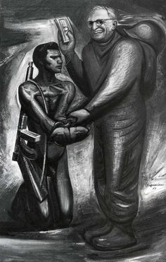 El Buen Vecino. 1951.  Piroxilina. 250 x 150 cm.  Instituto Nacional de Bellas Artes, México, México.