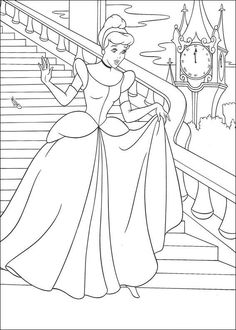 coloring page Cinderella - Leaving just before midnight