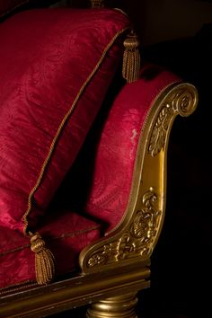 is in the details A corner of the Regency sofa in the Drawing Room. ©National Trust Images/David KirkhamA corner of the Regency sofa in the Drawing Room. Yennefer Of Vengerberg, Gold Aesthetic, Red Rooms, Character Aesthetic, Shades Of Red, Dark Red, Red Black, Regency, Red Gold