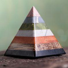 Multi-gemstone 'Energy of the Pyramid' Sculpture (Peru)