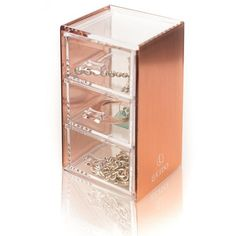 Rose Gold Acrylic Cosmetics Makeup Jewelry Stationery Organizer Holder... ❤ liked on Polyvore featuring home, home decor, jewelry storage, acrylic holder, rose gold home accessories, jewelry holder, jewellery box and rose gold jewellery box