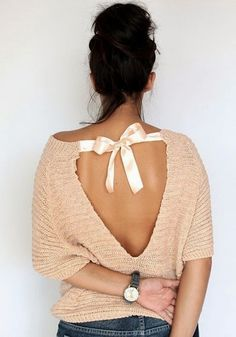 Open back sweater shirt with silken tie