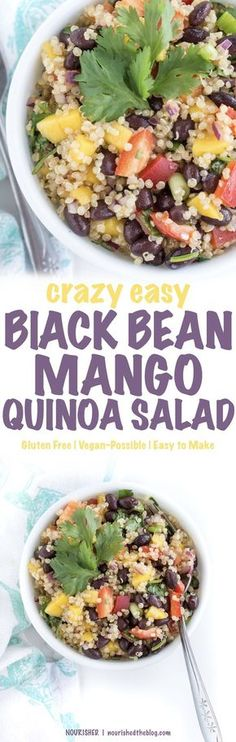 Black Bean Mango Quinoa Salad | This healthy quinoa salad recipe is so good with the perfect amount of sweet, spicy and crunch with mangos, peppers, lime and black beans. A gluten free and vegan possible lunch perfect for any day.