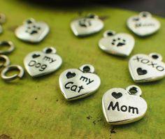 1 Tierra Cast Pewter Heart Shaped Love Mom My by UnkamenSupplies
