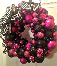 pink and black ornament wreath, zebra ribbon-- Etsy! Christmas Ornament Wreath, Pink Christmas Tree, Black Christmas, Christmas Colors, Christmas 2017, All Things Christmas, Christmas Wreaths, Christmas Crafts, Merry Christmas