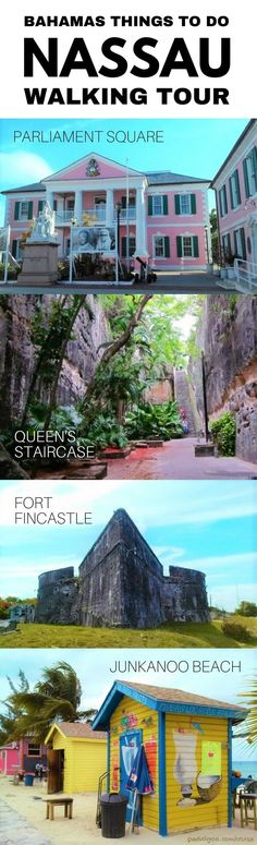 Nassau walking tour: Parliament Square, Queen's Staircase, Fort Fincastle, Junkanoo Beach. These are cheap or freethings to do in the Bahamas on a budget as alternatives to Paradise Island and Atlantis shore excursions near the Nassau cruise port.