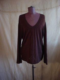 Axcess Pullover Sweater Top XL Brown Lightweight Knit Liz Claiborne #Axcess #VNeck Seller florasgarden on ebay