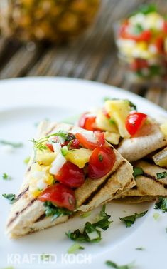 These Light Chipotle Chicken and Cheese Quesadillas with Pineapple Pico de Gallo are a healthy and delicious finger food! This 15-minute meal uses grilled chicken breast and fresh fruits and vegetables to create a quick and messy summertime meal.