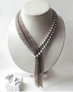 """Krawatte mit grauen Perlen und Achat """"Tropical Rain"""" – Diy Schmuck Tie with gray pearls and agate """"Tropical Rain"""" – Diy Jewelry Bead Jewellery, Pearl Jewelry, Jewelery, Jewelry Necklaces, Beaded Necklace, Agate Necklace, Jewellery Shops, Pearl Necklace, Beading Jewelry"""