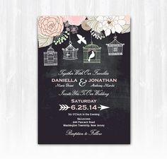 Chalkboard Bird Cage Wedding Invitation DIY PRINTABLE Digital File or Print (extra) Love Birds Wedding Chalkboard Wedding Bird Wedding