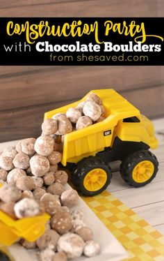Host a fun Dump Truck Construction Party and make these fun Chocolate Boulders for a birthday party that the kiddos will LOVE from She Saved.