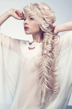 giant fishtail braid. (i have this posted up on my frige at home!)
